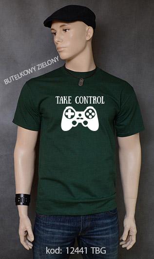 koszulka męska TAKE CONTROL kolor butelkowy zielony