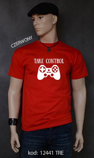 koszulka męska TAKE CONTROL kolor czerwony
