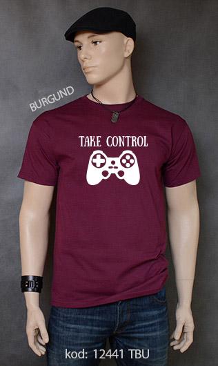 koszulka męska TAKE CONTROL kolor burgund