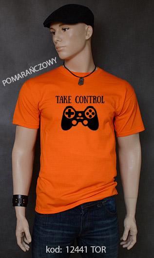 koszulka męska TAKE CONTROL kolor pomarańczowy