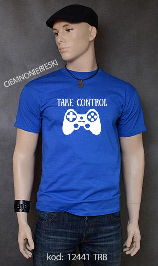 koszulka męska TAKE CONTROL kolor ciemnoniebieski