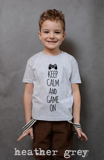 koszulka chłopięca KEEP CALM AND GAME ON kolor heather grey