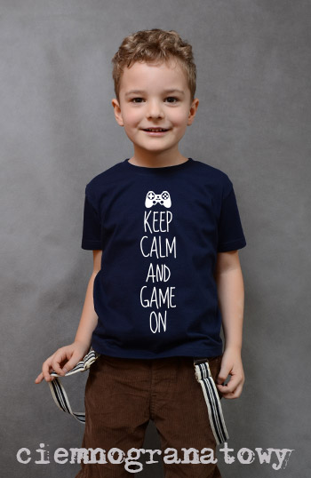 koszulka chłopięca KEEP CALM AND GAME ON kolor ciemnogranatowy
