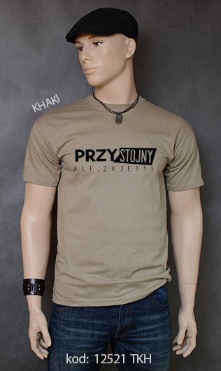 koszulka męska PRZYSTOJNY ALE ZAJĘTY kolor khaki