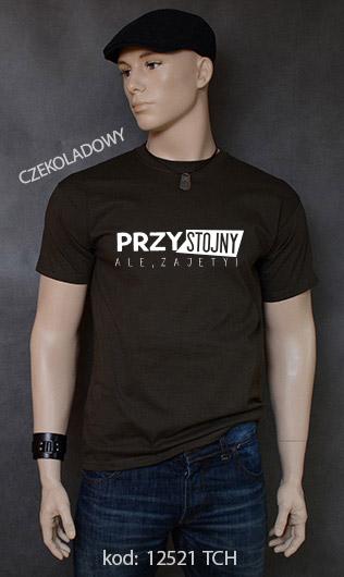 koszulka męska PRZYSTOJNY ALE ZAJĘTY kolor czekoladowy