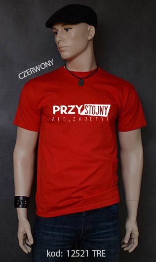 koszulka męska PRZYSTOJNY ALE ZAJĘTY kolor czerwony