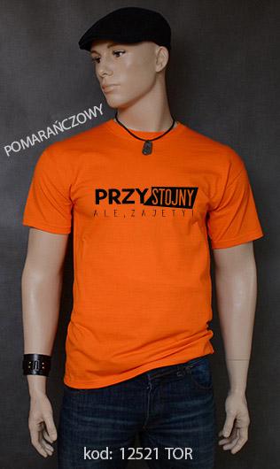 koszulka męska PRZYSTOJNY ALE ZAJĘTY kolor pomarańczowy