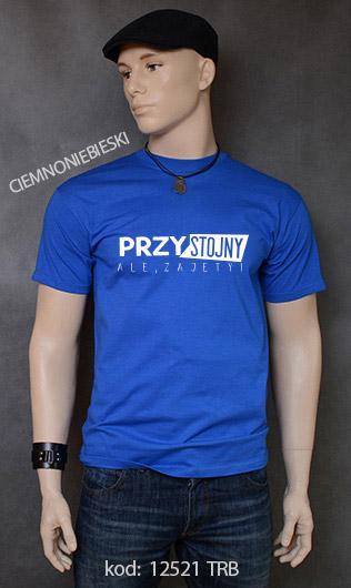koszulka męska PRZYSTOJNY ALE ZAJĘTY kolor ciemnoniebieski