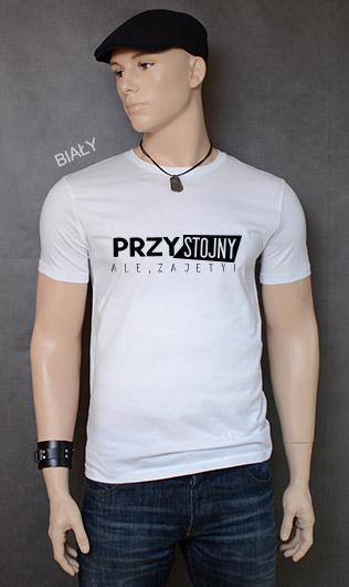 koszulka męska PRZYSTOJNY ALE ZAJĘTY kolor biały