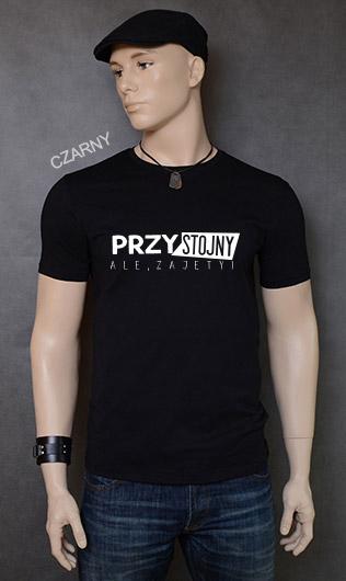 koszulka męska PRZYSTOJNY ALE ZAJĘTY kolor czarny