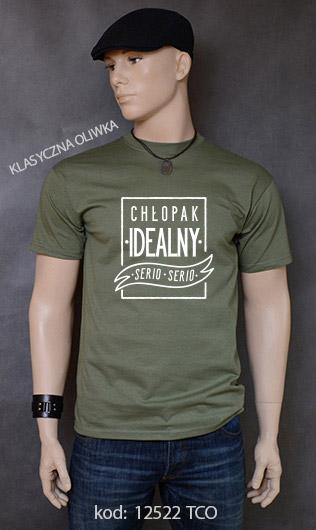 koszulka męska CHŁOPAK IDEALNY kolor klasyczna oliwka