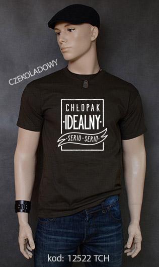koszulka męska CHŁOPAK IDEALNY kolor czekoladowy