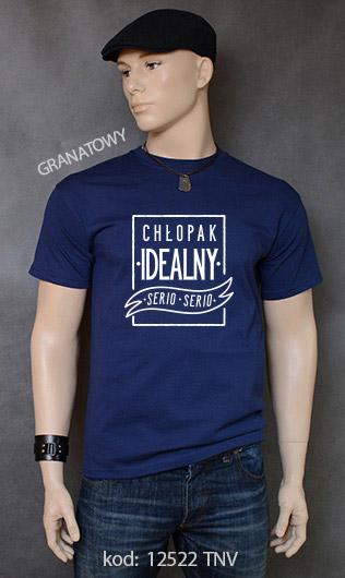 koszulka męska CHŁOPAK IDEALNY kolor granatowy