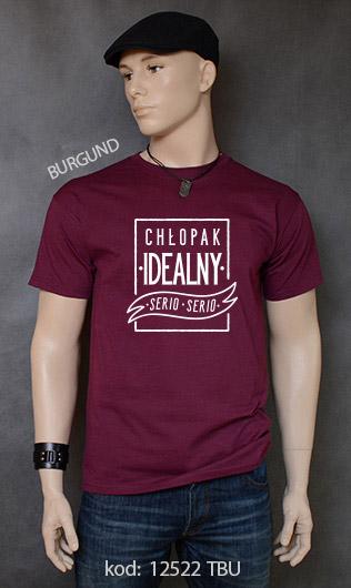 koszulka męska CHŁOPAK IDEALNY kolor burgund