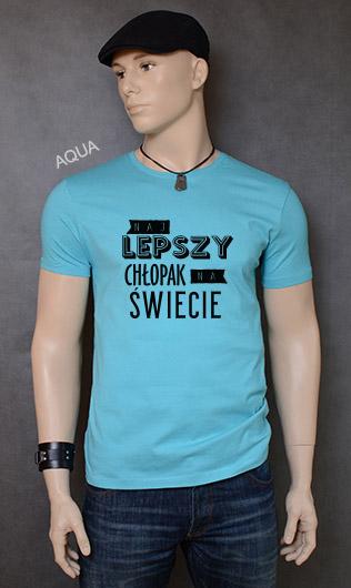 koszulka męska NAJLEPSZY CHŁOPAK NA ŚWIECIE kolor aqua