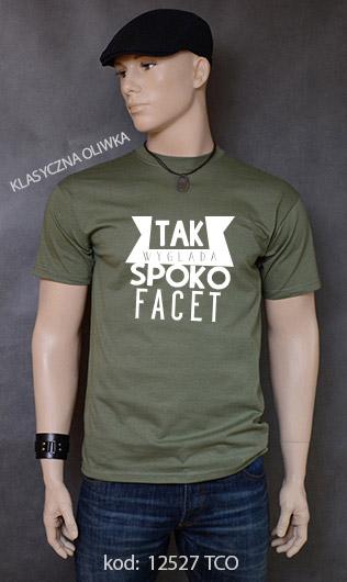 koszulka męska SPOKO FACET kolor klasyczna oliwka
