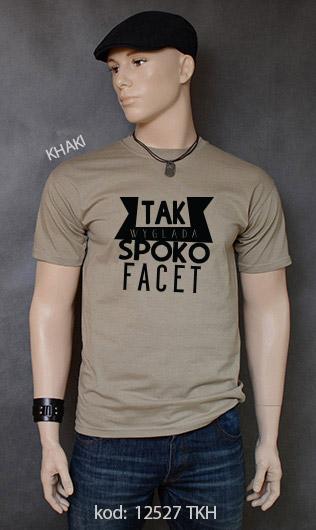 koszulka męska SPOKO FACET kolor khaki