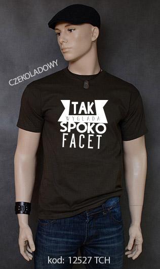 koszulka męska SPOKO FACET kolor czekoladowy