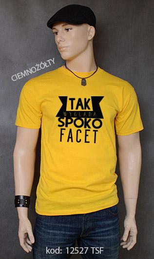 koszulka męska SPOKO FACET kolor ciemnożółty