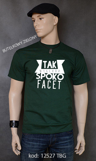 koszulka męska SPOKO FACET kolor butelkowy zielony