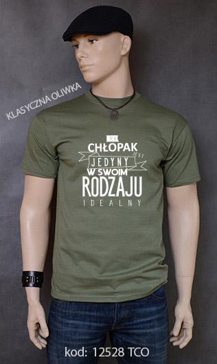 koszulka męska CHŁOPAK JEDYNY W SWOIM RODZAJU kolor klasyczna oliwka