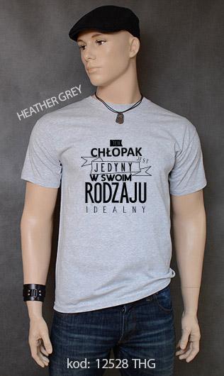 koszulka męska CHŁOPAK JEDYNY W SWOIM RODZAJU kolor heather grey