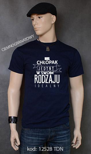 koszulka męska CHŁOPAK JEDYNY W SWOIM RODZAJU kolor ciemnogranatowy