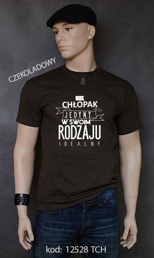 koszulka męska CHŁOPAK JEDYNY W SWOIM RODZAJU kolor czekoladowy