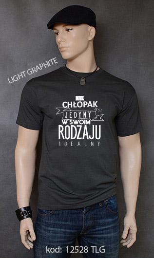 koszulka męska CHŁOPAK JEDYNY W SWOIM RODZAJU kolor light graphite