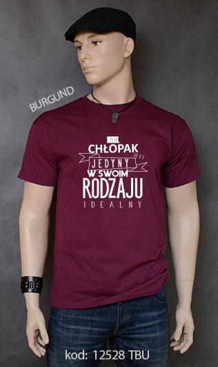 koszulka męska CHŁOPAK JEDYNY W SWOIM RODZAJU kolor burgund
