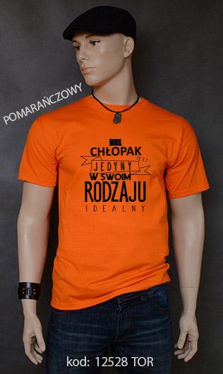 koszulka męska CHŁOPAK JEDYNY W SWOIM RODZAJU kolor pomarańczowy
