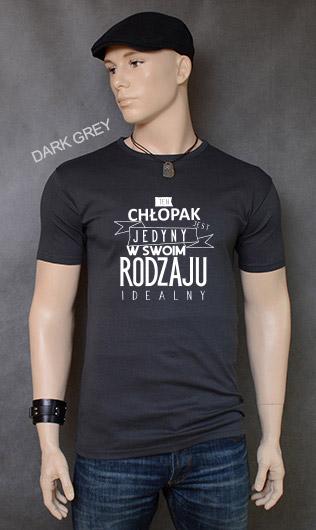 koszulka męska CHŁOPAK JEDYNY W SWOIM RODZAJU kolor dark grey