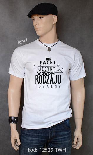 koszulka męska FACET JEDYNY W SWOIM RODZAJU kolor biały