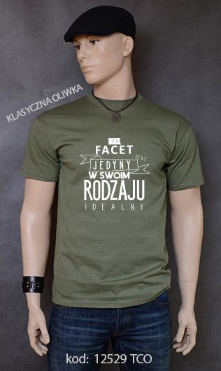 koszulka męska FACET JEDYNY W SWOIM RODZAJU kolor klasyczna oliwka