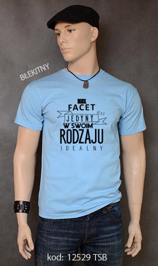 koszulka męska FACET JEDYNY W SWOIM RODZAJU kolor błękitny