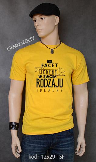 koszulka męska FACET JEDYNY W SWOIM RODZAJU kolor ciemnożółty