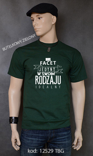 koszulka męska FACET JEDYNY W SWOIM RODZAJU kolor butelkowy zielony