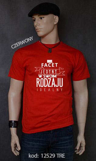 koszulka męska FACET JEDYNY W SWOIM RODZAJU kolor czerwony
